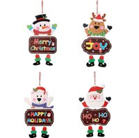 Wholesale christmas decorations door resale online - Christmas Door Hanging Decoration Paper Santa Snowman Elk Bear Design Hanging Pendant Home Window Christmas Decor OWB2902