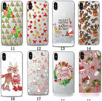 Wholesale paint transparent cell phone case online – custom Merry Christmas gift Santa Claus Elk Printing Painting cell Phone Soft TPU Gel Clear Transparent Back Case For iPhone X Plus cases