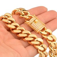 gold chain designs boy 2021 - Cool Gift 316L Stainless Steel Gold Biker Jewelry Miami Cuban Curb Link Chain Mens Boys Necklace Or Bracelet New Design 7-40inch