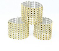 Wholesale wedding rhinestone decorations for napkins resale online - 100pcs rhinestone napkin rings for wedding table decoration nickle or rose gold plating