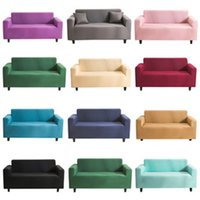 Wholesale slip covered sofas resale online - Stretch Elastic Cover Solid Color Sofa Towel Lving Room Fully wrapped Anti dust Slip resistant Slipcovers Couch SEA SHIPPING EWF2931