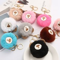 Wholesale fast ball for sale - Group buy 9 Colors Fast Shipping Rabbit Fur Ball Keychain Soft Fur Ball Lovely Little Bear Key Chains Ball Pom Poms Plush Keyring FWD2454