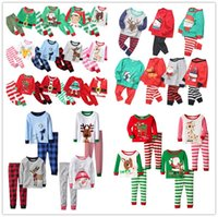 Wholesale elk baby clothes for sale - Group buy 27Styles Christmas Kids Pajamas Set Tracksuit Two Pieces Outfits Santa Claus Elk Striped Xmas Pajamas Suits Sets Baby Home Clothing E92705