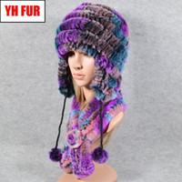 Wholesale cap rex for sale - Group buy 2020 Hot Sale Women Winter Outdoor Pieces Sets Rex Fur Hat Scarf Rex Fur Cap Scarves Neckerchief Hats