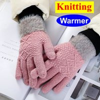 Wholesale hand gloves for ladies for sale - Group buy 2020 New Designer Fashion Women Girl Lady Knitted Wool Gloves Hand Cover Plush Young Girl Colorful Gloves For Winter Warm