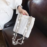 Wholesale diamond inlaid cross resale online - Small women new fashion diamond inlaid hand Chain Handbag Korean single shoulder cross arm silk pleated tote bag FekRs