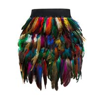 Wholesale indian tribe resale online - Elastic Waist Plume Indian Feather Skirts Womens Autumn Winter Cosplay Decorate Clothes Colorful Tribe Fringed Party Skirt