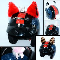 Wholesale helmets cosplay for sale - Group buy 2pcs Set Car Motorcycle Helmet Decoration Creative Diamond Cat Ears Plush Paste For Motorbike Helmets Cosplay style Car styling