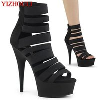 Wholesale heels for 15 for sale - Group buy Sexy high heeled shoes for the knight a pair of black summer cm thick boots for women s stage show ankle boots