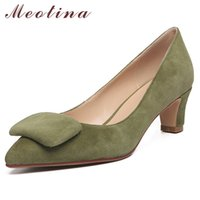Wholesale green kids party shoes for sale - Group buy High Women Pumps Kid Suede Block Heels Party Genuine Leather Pointed Toe Shoes Lady Spring Green Size