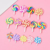 Wholesale supply chains for sale - Group buy Soft Clay Lollipop Cabochons Handmade Resin Material DIY Decoration Lovely Key Ring Chain Fashion Pendant Gift Party Supplies EWF1250