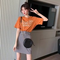 Wholesale girl wearing two piece shirt for sale - Group buy 4WqV9 Suit fashion Western style small wear suitset women Korean style girls tall T shirt short skirt two piece summer SuitT shirt suit