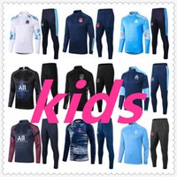 camisolas de futebol de crianças venda por atacado-psg jordan real madrid kids football kits 20 21 marseille ajax 2021 training soccer jersey football tracksuit player version barcelona kids survetement foot chandal futbol
