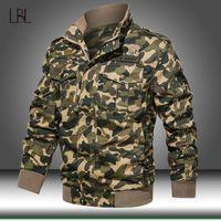 Wholesale camo military jacket women resale online - Military Jacket Men Winter Bomber Coat Mens Cotton Pilot Coats Autumn Fashion Camouflage Cargo Slim Fit Male Camo Windbreaker