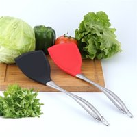 Wholesale woks for sale - Group buy Silicone shovel silicone tableware Non Stick Silicone Spatula Wok Turner With Stainless Steel Handle Heat Resistant Cooking