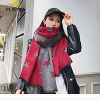 Wholesale tippet stole for sale - Group buy Designer Stars Print Gray Red Winter Female Tippet Scarf Poncho Women s Faux Cashmere Shawl Wool Blends Pashmina Stole Ladies Winter Wr