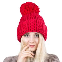 Wholesale pink hand knitted hat resale online - New Type of Hand made Coarse Wool Knitting Large Wool Ball Knitting Hat Autumn and Winter Outdoor Warm Women s Twist Hats