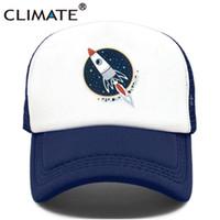 Wholesale rockets cap for sale - Group buy CLIMATE Rocket Spaceship Trucker Cap Hat Male Spacex Universe Explorer Mesh Cap Rocket Cool Summer Caps Hat for Men Women KidX1016