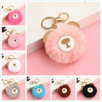 Wholesale fast ball resale online - 9 Colors Fast Shipping Rabbit Fur Ball Keychain Soft Fur Ball Lovely Little Bear Key Chains Ball Pom Poms Plush Keyring EEC2928