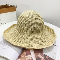 Wholesale pink hand knitted hat for sale - Group buy Fisherman Cap Easy To Carry Anti UV Simple Style Foldable Hand Knitted Lafite Straw Brim Solid Casual Events Women Sun Hat