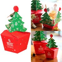 Wholesale cupcake tree for sale - Group buy Christmas Tree Packing Box Cupcakes Dessert Cookies Candy Gift Apple Box With Bells Golden Cord Festival Present Bagdropshipping jllXsc