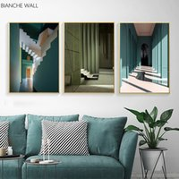 Wholesale illusions paintings resale online - Building Optical Illusion Abstraction Wall Poster Modern Canvas Print Painting Contemporary Art Decorative Picture Home Room Dec