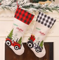 Wholesale car socks resale online - 2 Styles Red Black Lattice Christmas Stocking Creative Cartoon Car Candy Sock Hanging Christmas Tree Decoration Party Pendant DHF3008