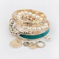 Wholesale pearl coin bracelets for sale - Group buy Pearl Charms Bracelets for Women Pearl Coins Element Avatar Statement Charm Multilayer Bangle Bracelets