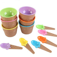 Wholesale cup stacks for sale - Group buy Kids Ice Cream Bowls Ice Cream Cup Couples Bowl Gifts Dessert Container Holder With Spoon Best Children Gift Supply On Sale Lx8091