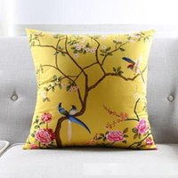 taies d'oreiller chinois achat en gros de-Chinese Style Decorative Throw Pillows Cases Yellow Birds Flower Cushion Covers Home Decor Blue Floral Tree Velvet Pillowcase