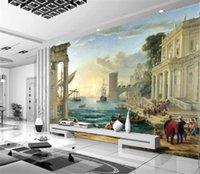 Wholesale discount columns for sale - Group buy Wallpaper D European Building Seascape Roman Column Background Wall Painting Wallpaper Discount For Cheap Wallpaper