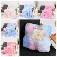 Wholesale kids twin beds for sale - Group buy Kids Blankets Tie Dye Fuzzy Throw Blanket Double Layer Shaggy Blankets Bedroom Carpet Bedding Sofa Cover Designs KKA1633