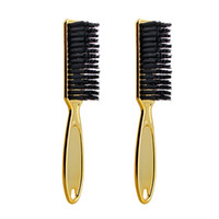 Wholesale vintage clean for sale - Group buy Fade Brush Comb Scissors Cleaning Brush Barber Shop Skin Fade Vintage Oil Head Shape Carving Cleaning Gold pc