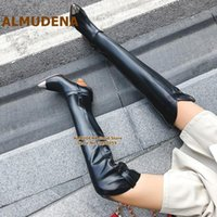 Discount metal boot tips ALMUDENA Wooden Wedge Heel Over The Knee Boots Steel Tip Toe Spike Heels Thigh High Boots Metal Decorated Long Dress Shoes1