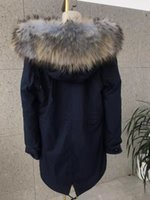 Wholesale pictures foxes resale online - Real pictures brown tip light blue raccoon fur hoody Mukla furs brand light blue brown fox fur lining navy blue women long parkas