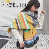 Wholesale tippet stole for sale - Group buy Thick Warm Winter New Yellow Cashmere Blanket Poncho Female Shawl Lady Hijab Tippet Scarf Wrap Stole Pashmina