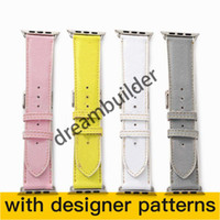 L fashion Watchbands for iPhone Watch Band 42mm 38mm 40mm 44mm iwatch 3 4 5 bands Leather Strap Bracelet Stripes watchband drop shipping