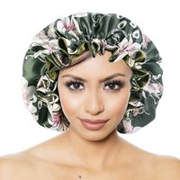 RTS Silk lace Night Cap Hat Double side wear Women Head Cover Sleep Cap Satin Bonnet for Beautiful Hair - Wake Up Perfect Daily Factory Sale