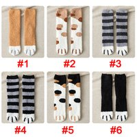 Wholesale slipper paws resale online - Cat Claw Socks Fuzzy Fluffy Cat Paw Socks Womens Girls Designer Winter Pink Cosy Cute Slipper Bed Socks Fashion