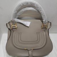 Wholesale handles straps for sale - Group buy realfine888 A Top Quality Marcies Leather Handbag cm Grain Calfskin Top Handles Shoulder strap Totes bags with Dust Bag