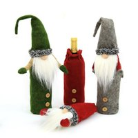 Wholesale handmade santa claus resale online - Christmas Gnomes Wine Bottle Cover Handmade Swedish Tomte Gnomes Santa Claus Bottle Toppers Bags Holiday Home Decorations OWC2979