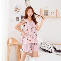 Wholesale pajama cotton for women resale online - summer cotton silk Two piece Set Korean Cute Thin fresh Student Large Size pajama sets Pajamas for Women