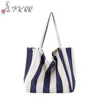 Wholesale korean handbags for women for sale - Group buy S IKRR Korean Canvas Bags For Women Navy Style Striped Large Capacity Shoulder Bag HandBags Shopper Big Bags Women Totes