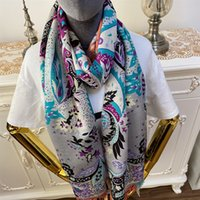 Wholesale materials for scarves resale online - New style good quality silk cashmere material print flowers patterne Thin and soft long scarves for women big size cm cm