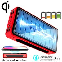 Wholesale solar charging battery bank online – 30000mAh Power Bank Wireless Charging Solar Battery Panel Powerbank Large capacity Mobile Phone Charger External Battery Pa