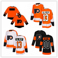Wholesale Custom Philadelphia Flyers Lil Peep Fashion Star Hockey Jersey Orange Black White Men Women Youth Cheap