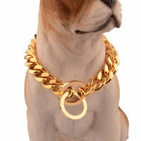 Wholesale fancy long chain resale online - Cool Gold Stainless Steel Training Dog Collar mm Wide Inch long Fancy Chain Dog Choke Collar Best for Large Dogs