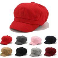 Wholesale black caps news resale online - Hat Flat Womens Girls News Boy Flat Cap Panel Baker Boy Wool Blend Ladies