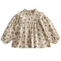SK INS Baby Girls Floral Blouse Tops T-shirts Kids Children Long Sleeved Shirt Cotton Quality