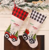 Wholesale car socks resale online - 2 Styles Red Black Lattice Christmas Stocking Creative Cartoon Car Candy Sock Hanging Christmas Tree Decoration Party Pendant FWF3008